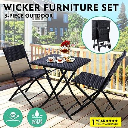 Amazon.com: GARTIO - Juego de 3 sillas y mesa de ratán para ...