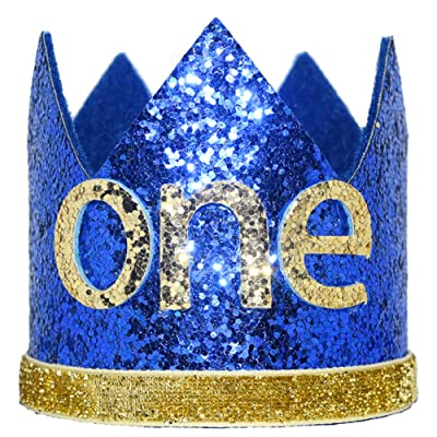 Maticr Glitter Baby Boy First Birthday Crown Number 1 Headband Little Prince Princess Cake Smash Photo Prop (Tiny Royal & Gold One): Toys & Games