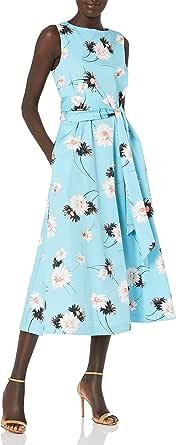 ANNE KLEIN Women's Cotton Midi Dress with Sash