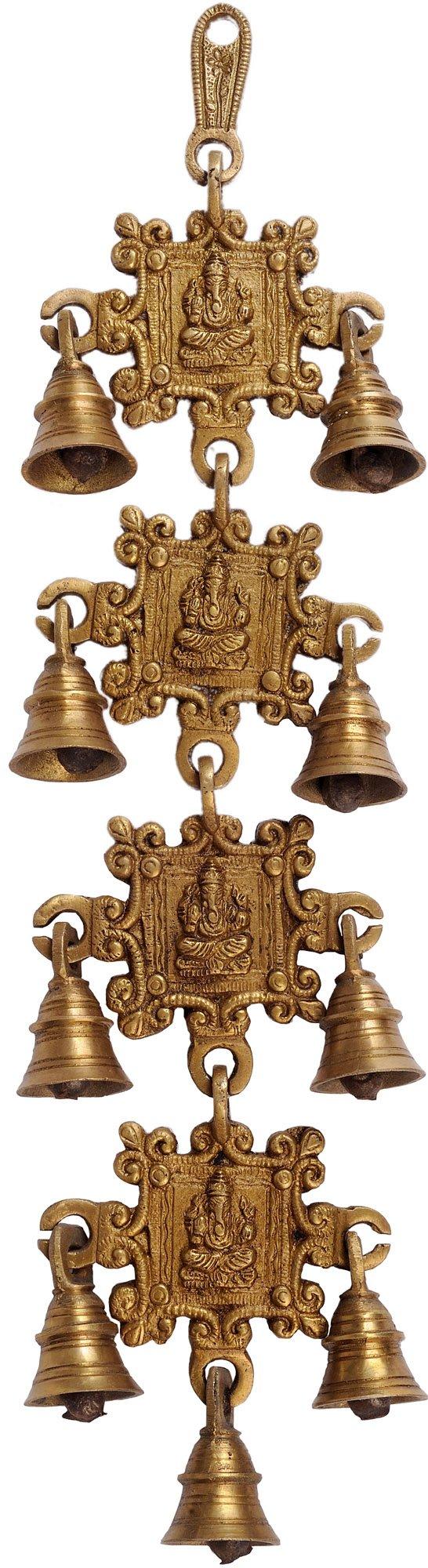 Ganesha Wall Hanging Bells - Brass Statue