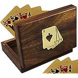SKAVIJ Spielkartenhalter aus Holz braun dekorative Aufbewahrungsbox Weihnachten Geschenke 10,7 cm