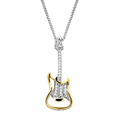 Amazon Com Electric Guitar Pendant Necklace With Diamonds In