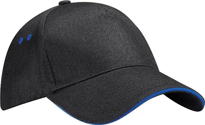 012a79bccc9352 New Beechfield Ultimate 5 Panel Contrast Cap Sandwich Peak Unisex Baseball  Hat: Amazon.co.uk: Clothing