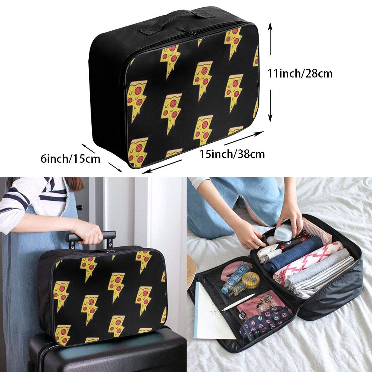 Women /& Men Foldable Travel Duffel Bag Cool Pizza For Luggage Gym Sports