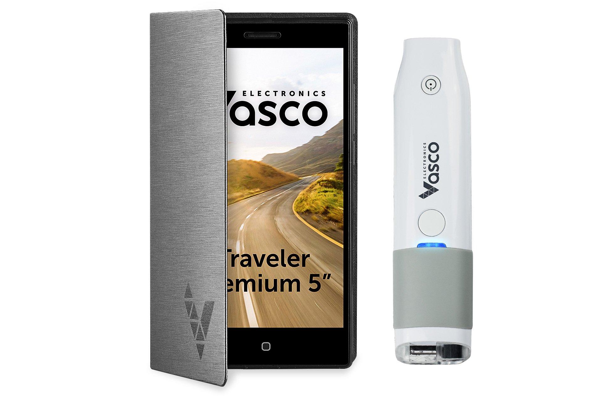 Vasco Traveler Premium 5'' + Scanner: Voice Translator with Handheld Scanner, GPS, Travel Phone, Guide and more!