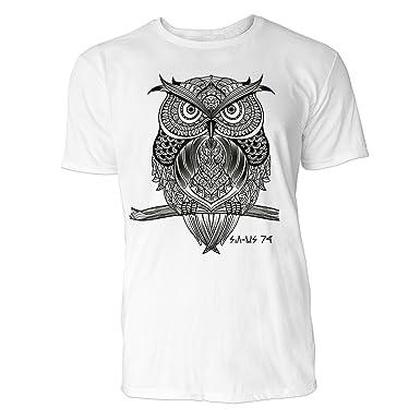 SINUS ART ® Eule auf Zweig im orientalischen Stil Herren T-Shirts in Weiss  Fun d771d31acf
