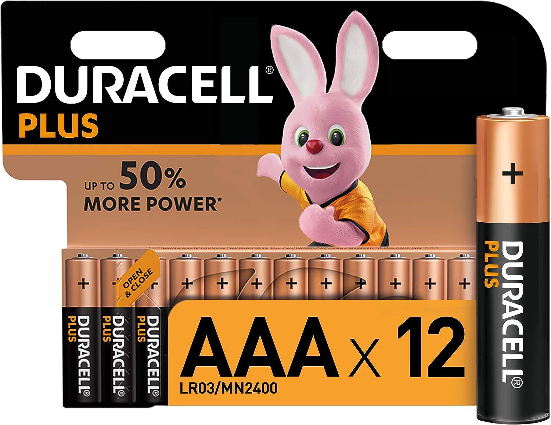 Duracell - Plus AAA, Pilas Alcalinas (paquete de 12) 1.5 Voltios LR03 MN2400