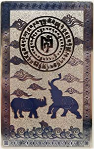 Feng Shui Blue Rhino Elephant Anti Burglary Talisman Card
