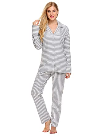 e36adf855e Langle Soft Pjs Nightgowns Sets Womens Long Sleeve Tops and Full Length  Pajamas Bottoms (Gray