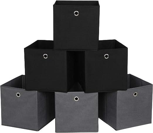 Cubos Plegables de Tela no Tejida y Cubos Organizadores de Ropa de Juguete 2 Beige RFB06GHM SONGMICS Juego de 6 Cajas de Almacenamiento 2 Gris 2 Negro