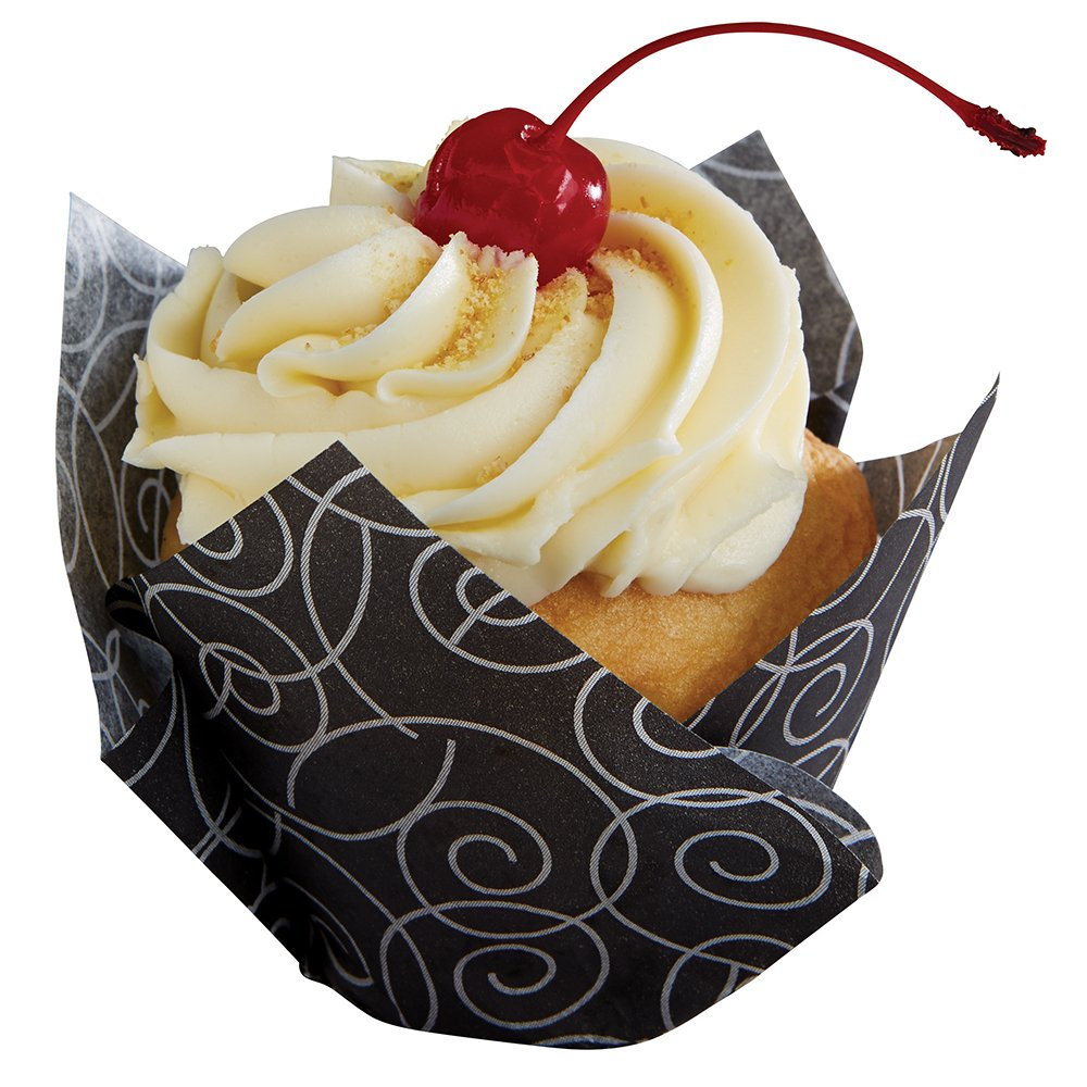 Hoffmaster 611129 Tulip Cup Cupcake Wrapper/Baking Cup, 3-4 oz, 2'' x 3-1/2'', Small, Silver Swirl, Printed (4 Packs of 125) by Hoffmaster (Image #1)