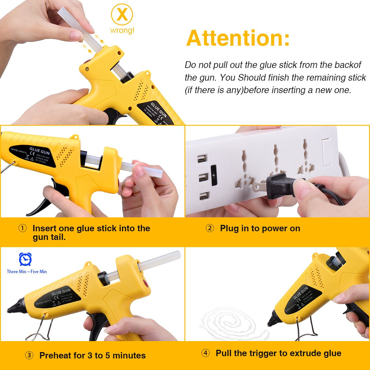 Hot Glue Gun Kits, TopElek 100 Watts Industrial Hot Melt Glue Gun Set, with 12pcs Glue Sticks, for Factory, Home and School, DIY Arts and Crafts Projects, Home Quick Patch-ups