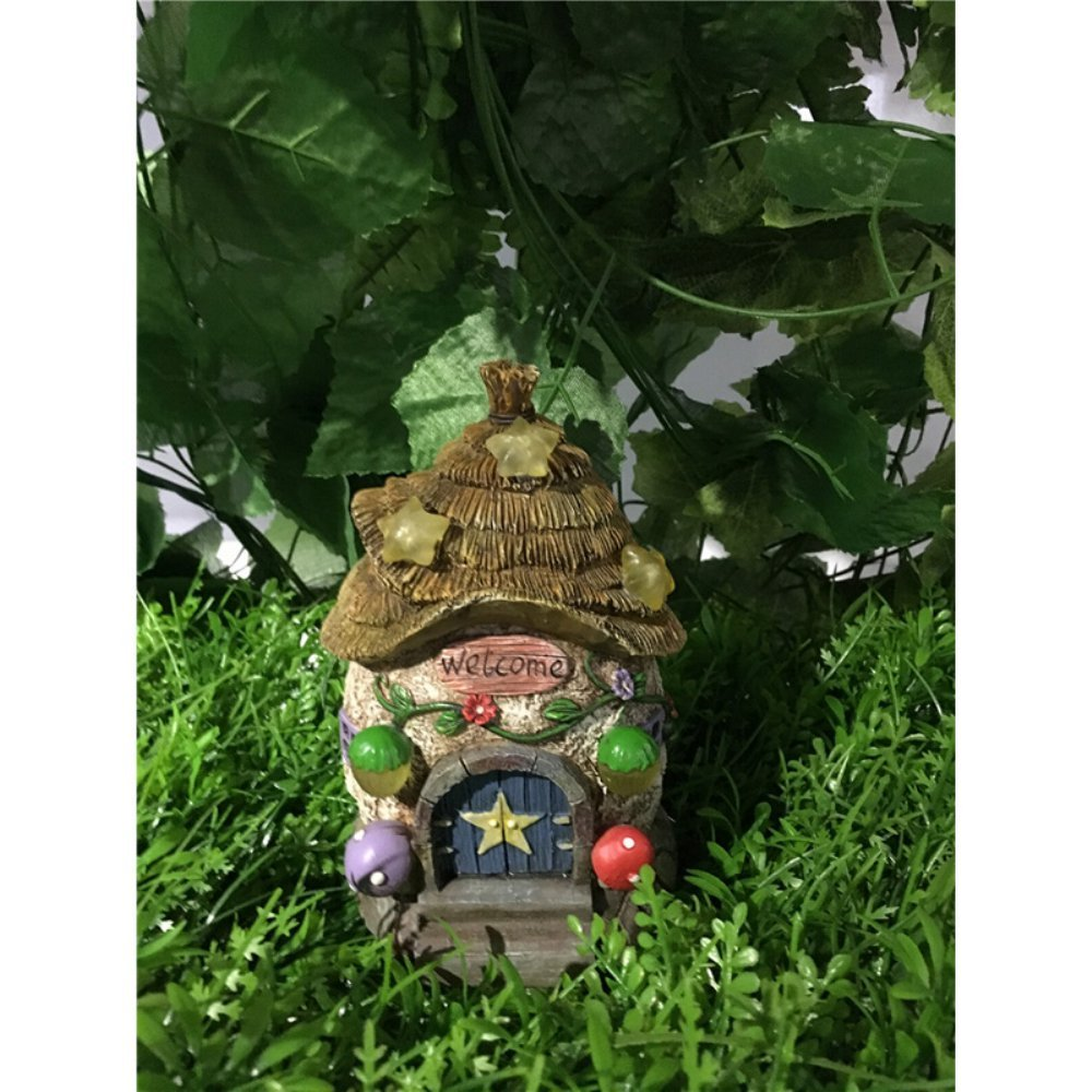 Hi-Line Gift Ltd Fairy Garden House with Thatched Roof and Stars -Solar LED Lights