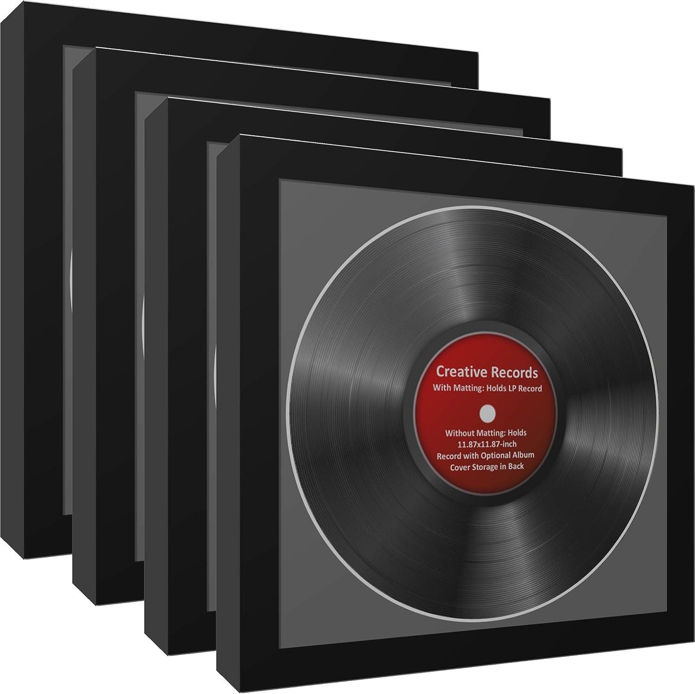 CreativePF [4pk-lp12.5x12.5bk-b] LP Vinyl Record Album Frame Display with Black Mat, LP Record Insert, Glass and Wall Hanger (4-Pack)
