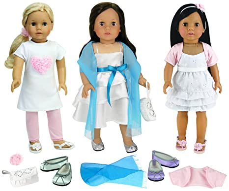 Sophias Sweet Spring Dress Set for 18 Inch Dolls Includes Three Dresses and Accessories Sophia/'s