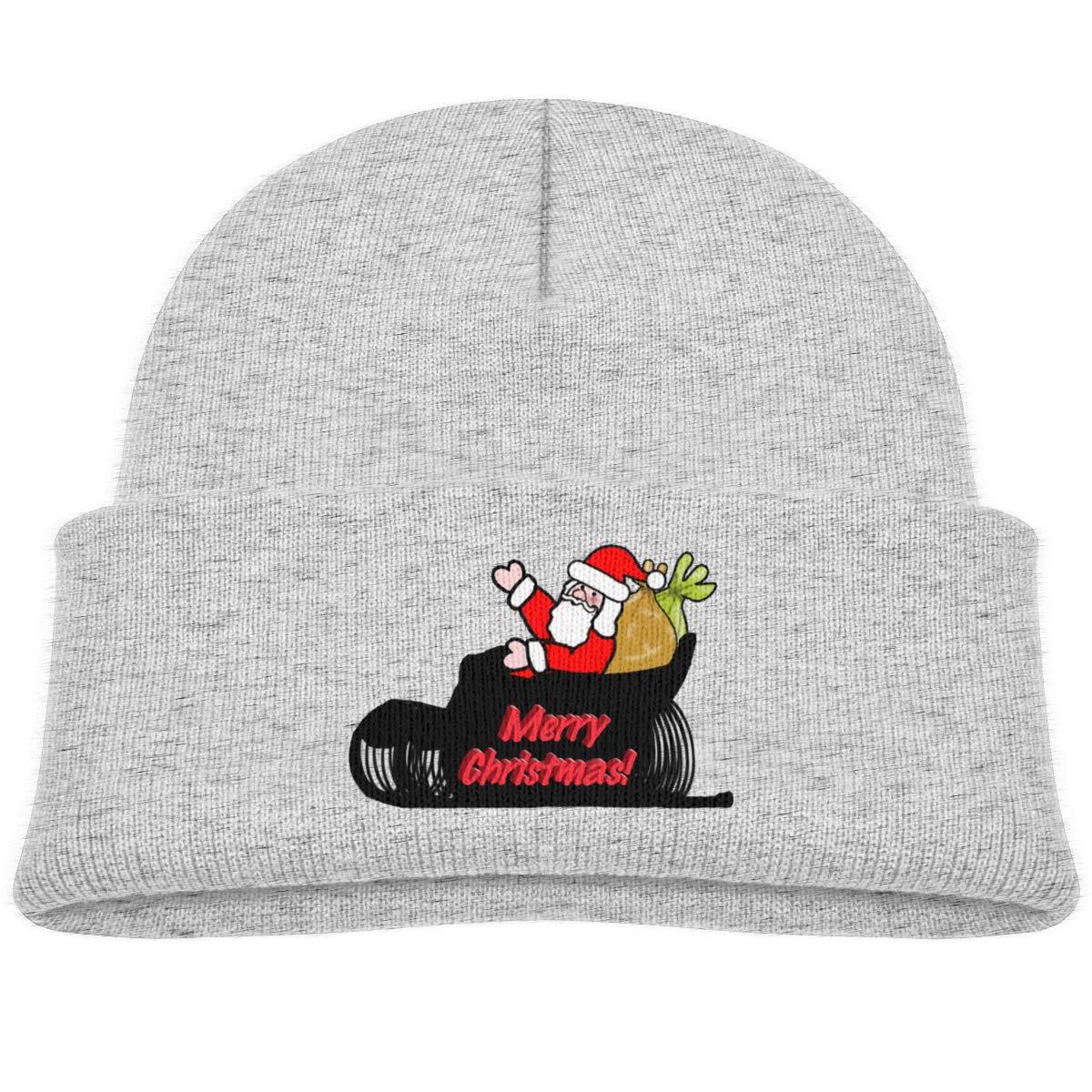 Hanfjj Kefdk Cartoon Santa Sleigh Infant Skull Hats Baby Boy Beanies Cap