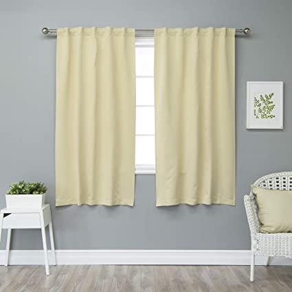 c8153c46171516 Amazon.com: Best Home Fashion Premium Thermal Insulated Blackout Curtains -  Back Tab/Rod Pocket - Beige - 40