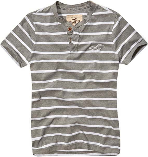 Hollister - Camiseta - con botones - para hombre Gris gris L ...