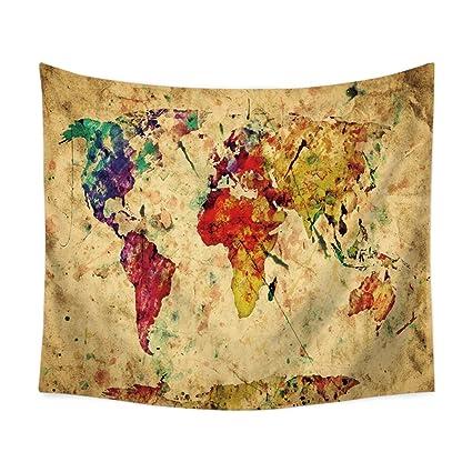 Zfggd Mapa del Mundo Tapiz, tapices de Pared Amarillo púrpura Acuarela Naturaleza Grandes manteles Pared