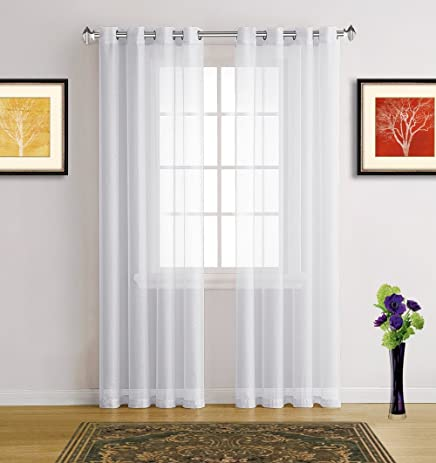 Warm Home Designs Bright White Sheer Window Curtains With Grommet Top For  Bedroom, Kitchen,