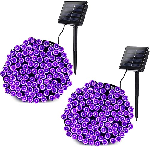 Joomer 2 Pack Purple Lights Halloween Solar Lights 72ft 200 LED 8 Modes Solar String Lights Waterproof Halloween Lights for Halloween Garden, Patio, Fence, Balcony, Outdoors