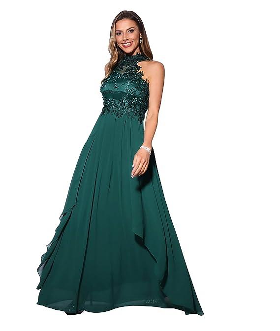 KRISP Damen Abendmode Lange Ballkleider mit Geschlossenem Ausschnitt   Amazon.de  Bekleidung e88334099c