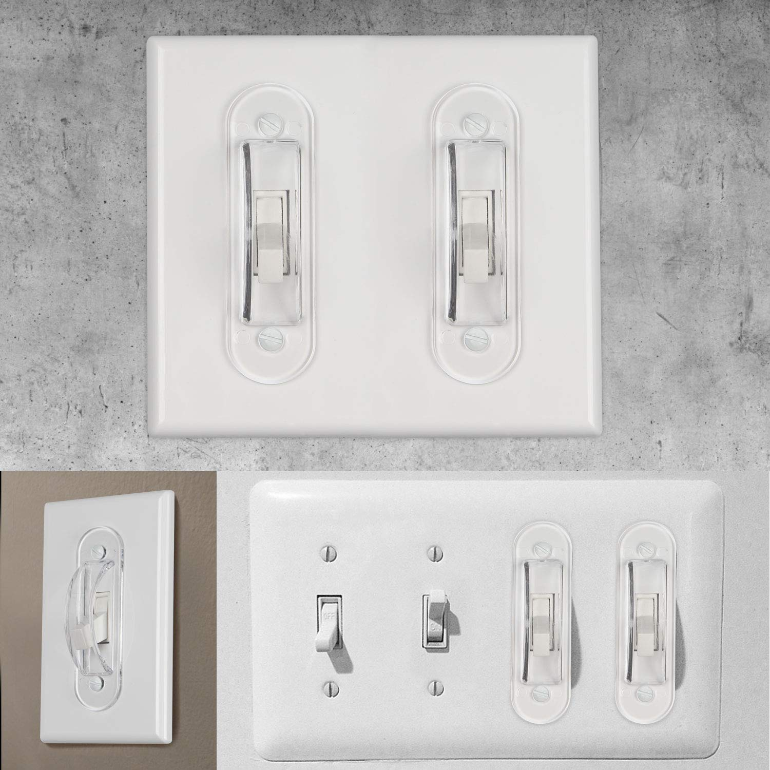 Lisol Wall Switch Guards Plate Covers Child Safety Security Home Decor Keeps Light Switch ON Or Off Prevent Accidental Device Turn On or Off Clear 4 Pack