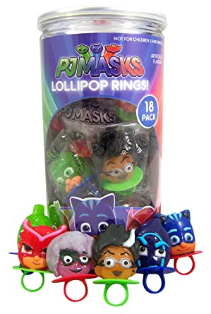 PJ Masks Character Shaped Hard Candy Lollipop Rings, 8.8 Ounce