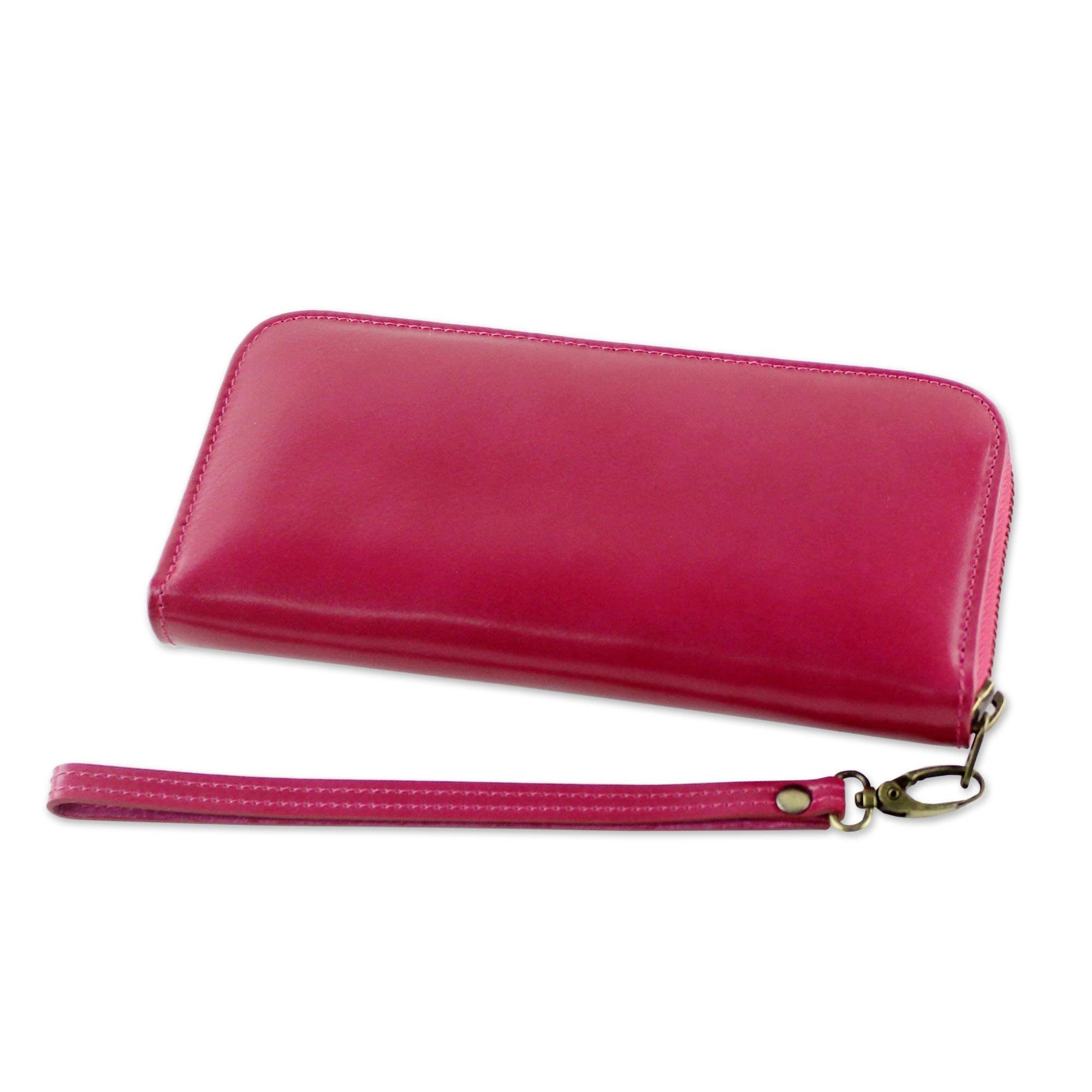 NOVICA Pink Leather Wristlet, 'Cerise Love'