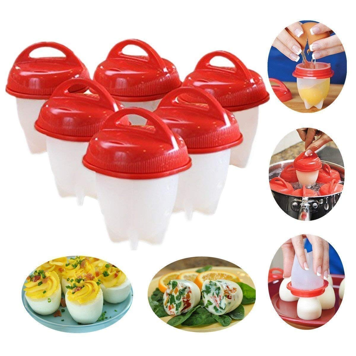 lemogo Silicone Egg Cooker Hard & Soft Maker, No Shell, Non Stick Silicone, Boiled, Steamer, Eggies (6 Packs)