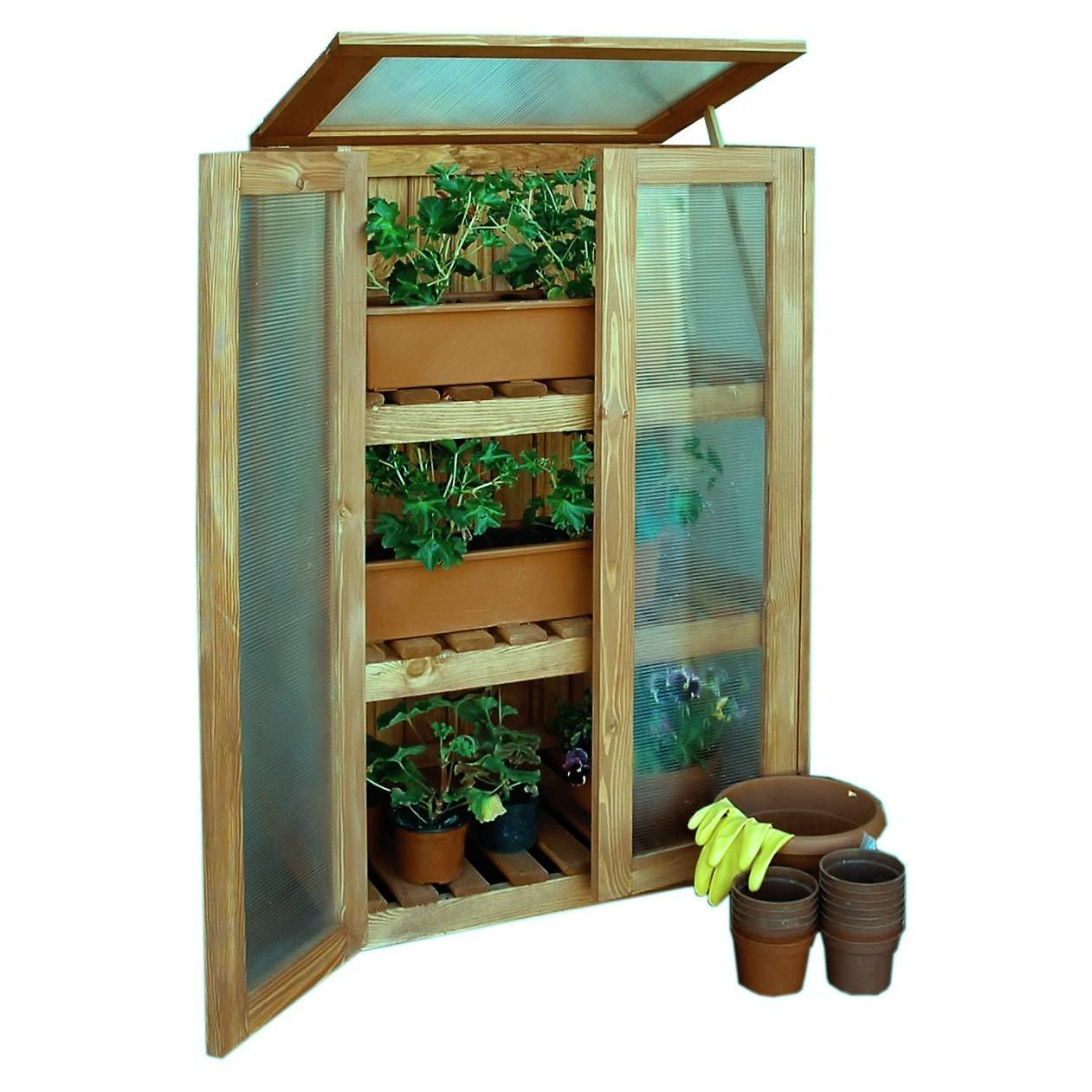Gewächshausschrank aus Holz Treibhaus Anzuchtschrank für Balkon von Gartenpirat®