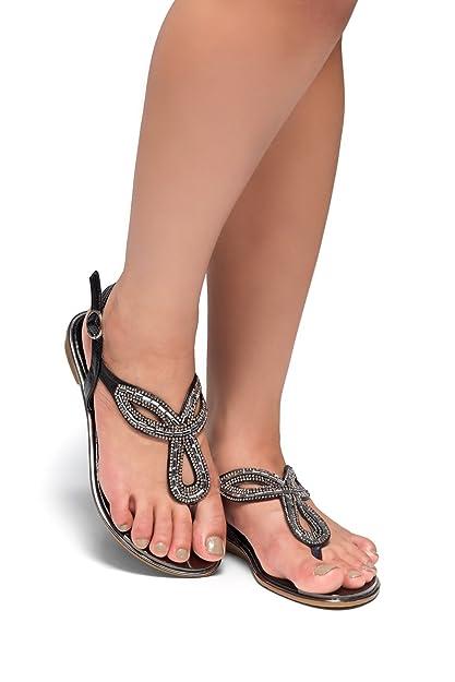 8c8529d3cbfa Herstyle Womens Aleani- Rhinestone Thong Flat Sandal Black 7