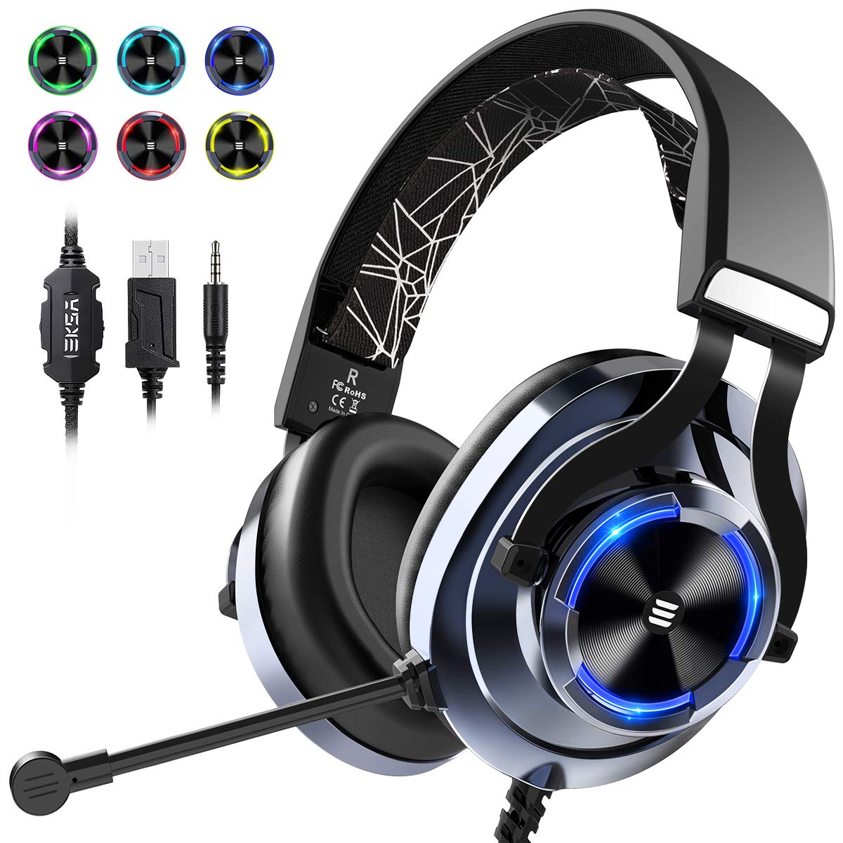 EKSA Gaming Headset PS4 Xbox One Headset with Noise Cancelling Mic RGB Light – Over Ear Gaming Headphones for PC, Laptop, Xbox One, Playstation 4, Nintendo Switch, Electroplated