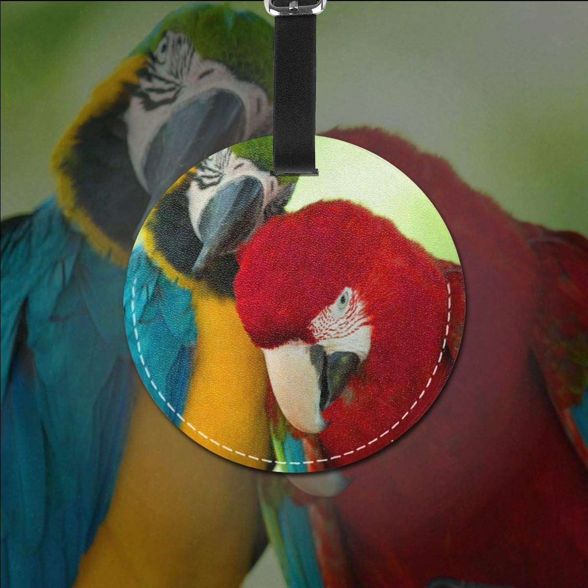 Round Luggage Tags Colorful Macaws Parrots PU Leather Suitcase Labels Bag
