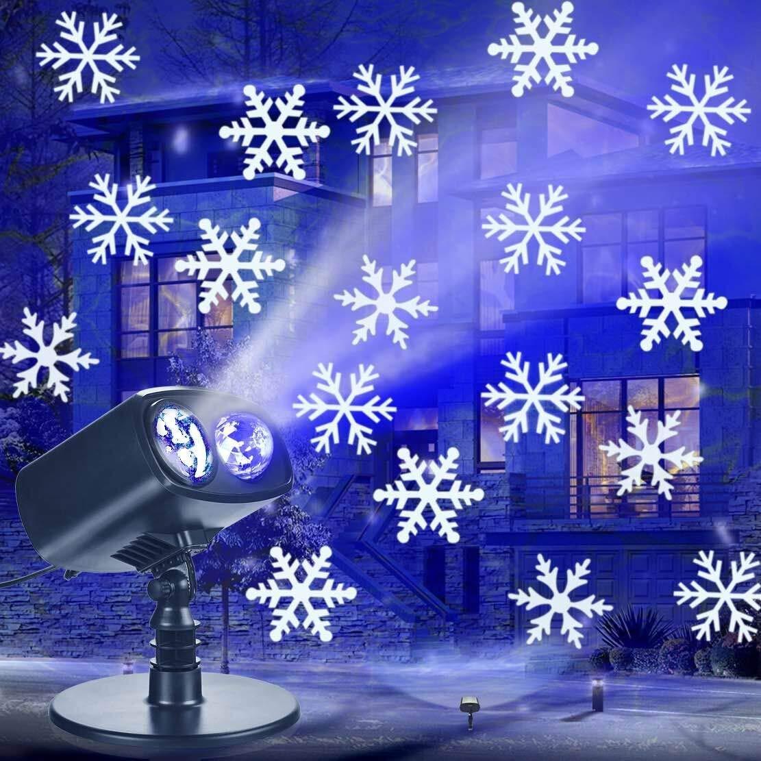 LED Schneeflocken Projektor, Schneefall Licht Lichteffekt Projektionslampe IP65 Wasserdicht Schneeflocke für Außen und Innen Deko, Partys, Weinachten, Feiertage, Halloween Yinuo Candle
