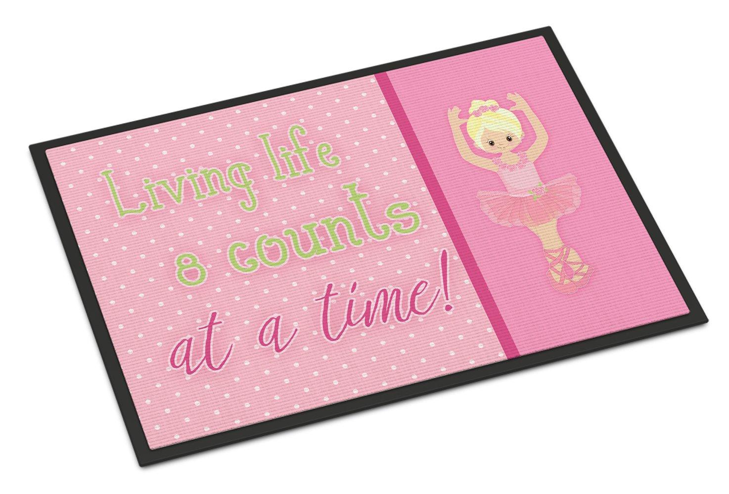 Multicolor 18 H x 27 W Carolines Treasures Ballet Dance Stripes Brunette Doormat