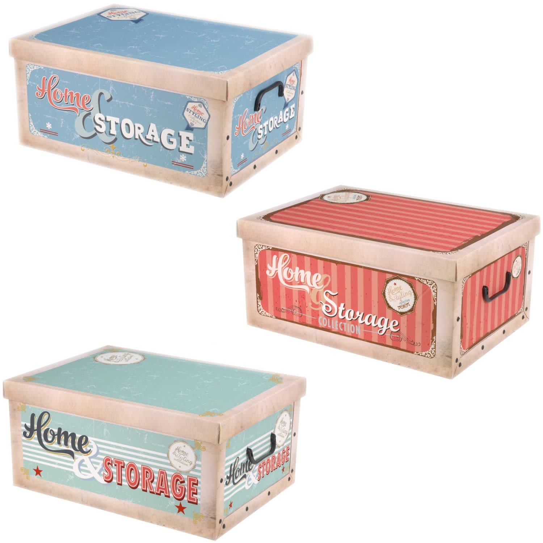 Retro Aufbewahrungs Box mit Deckel Muster Kiste Karton Schachtel ...