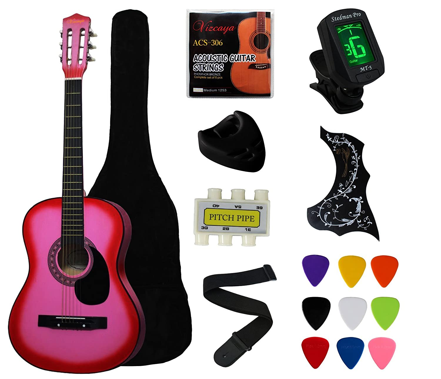 YMC 38 Blue Beginner Acoustic Guitar Starter Package Student Guitar with Gig Bag,Strap, 3 Thickness 9 Picks,2 Pickguards,Pick Holder, Extra Strings, Electronic Tuner -Blue BG38-BU-AKIT