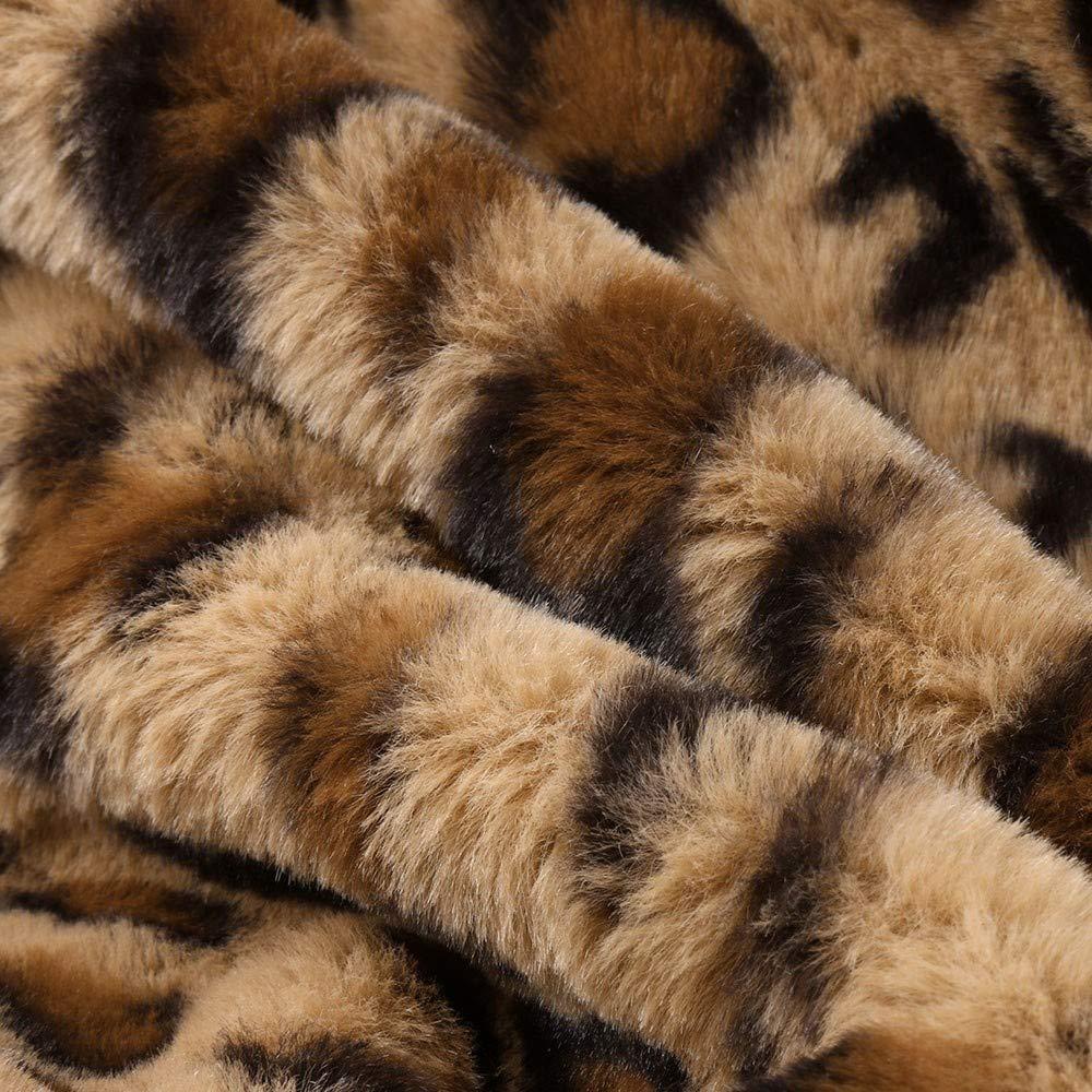 Cywulin Womens Leopard Print Cardigan Sweaters Blazer Jackets Faux Fur Winter Coat Warm Soft Furry Parka Outwear Pockets at Amazon Womens Clothing store: