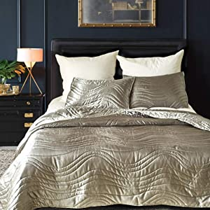 RNNTK Decorative Bedspread Quilt Set Queen Size, Ultra-Soft Modern Luxury Bedding Quilt Washable,for All Season Bedroom Decor Lightweight Coverlet Gray 229x229cm(90x90inch)
