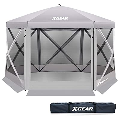 XGEAR Pop Up Easy Install Camping Screen House Canopy Instant Gazebo (Silver): Sports & Outdoors