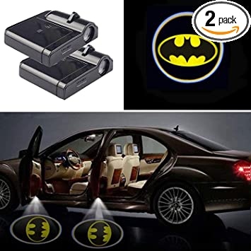 2pcs Universal Wireless Car Door Lights Car Projection Led Door Shadow Lights Welcome Courtesy Lights Emblem Logo fit for Yellow Batman