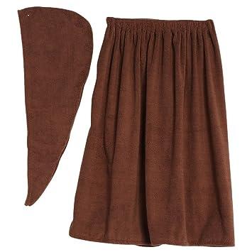 Sombrero cabello seco y toalla de baño, la falda pareo suave con velcro y toalla de pelo Abrigo de algodón orgánico 150 * 90cm (café): Amazon.es: Hogar
