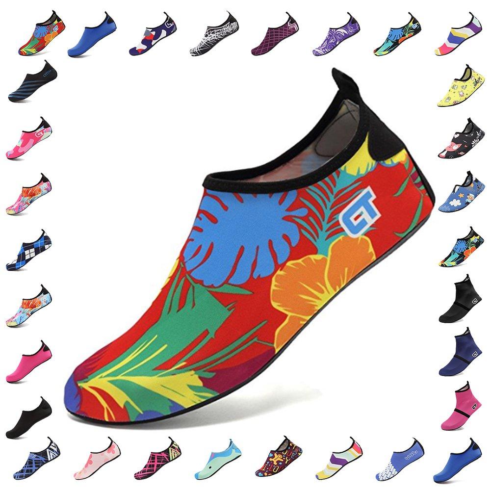 CIOR Men Women and  Water Shoes Barefoot Skin Shoes Anti-Slip for Beach Pool Surf Swim Exercise Sneaker B073PY6J3N 4 B(M) US Women/2-3 M US Big Kid|Flower 01