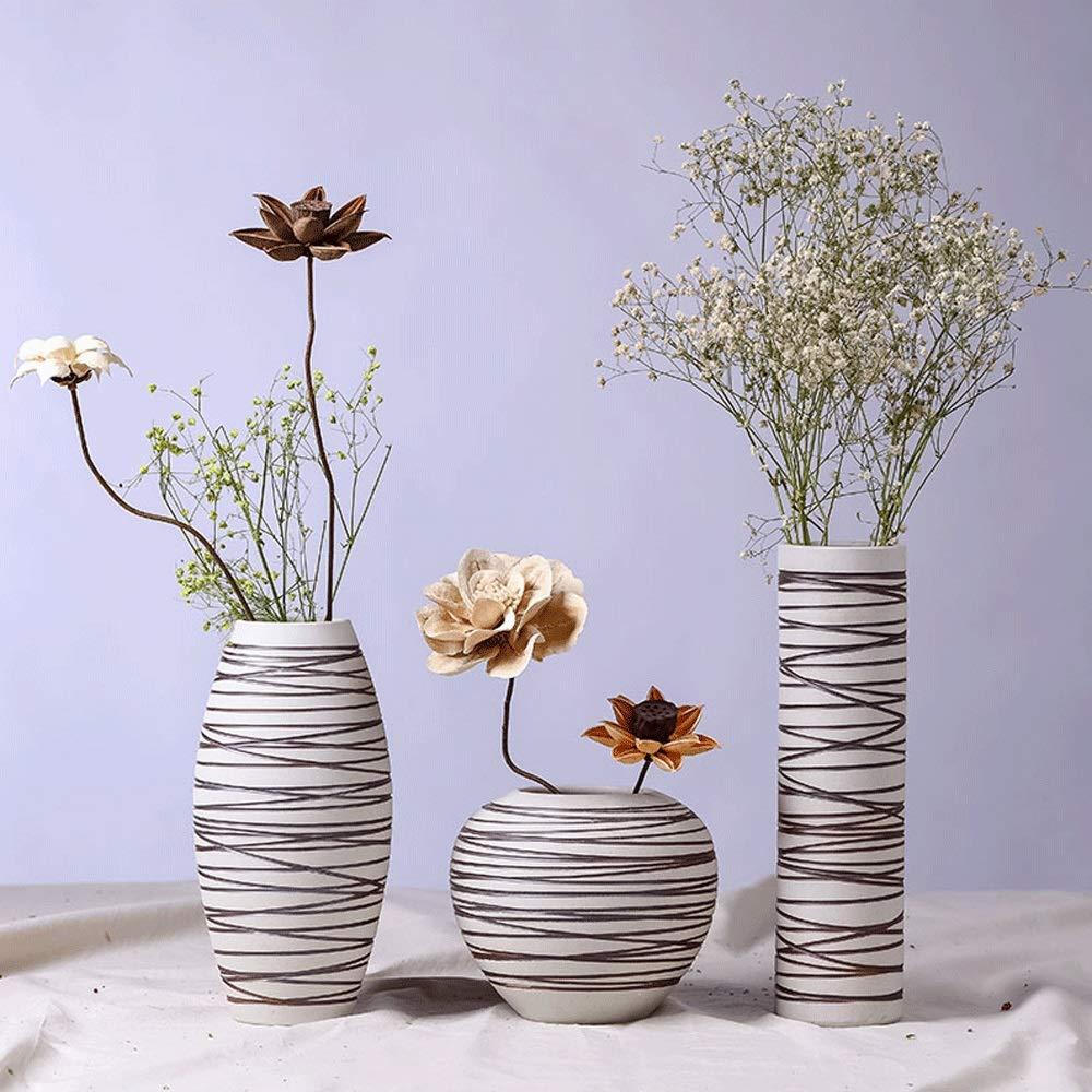 花瓶、クリエイティブファッションリビングルームの床の花瓶、シンプルなホームデスクトップの花のフラワーアレンジメントの装飾手作りの花瓶のアートの装飾 - 3セット(花なし) B07RGWLDHT