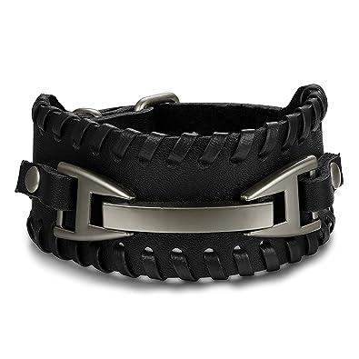 BESTEEL Bracelet Cuir pour Homme Femme Rock Style Punk Bracelet Manchette  Vintage Bangle, Ajustable