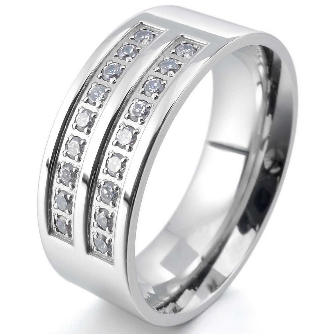 INBLUE Men's 8mm Stainless Steel Ring CZ Silver Tone Comfort Fit Band Wedding Size12 by INBLUE (Image #1)