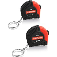 Spifllyer 2 Pack Small Key Chain Mini Tape Measure Retractable Measuring Tape 2M/6ft, Metric and Inch, Double Colored