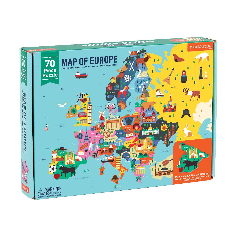 "Amazon.com: Mudpuppy Map of Europe Puzzle, 70 Pieces, 22""x17.25 ..."