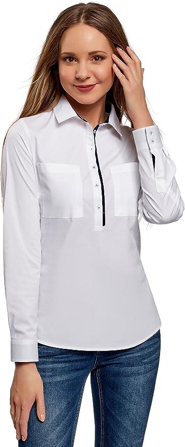 oodji Ultra Mujer Camisa Entallada con Bolsillos en el Pecho: Amazon.es: Ropa y accesorios